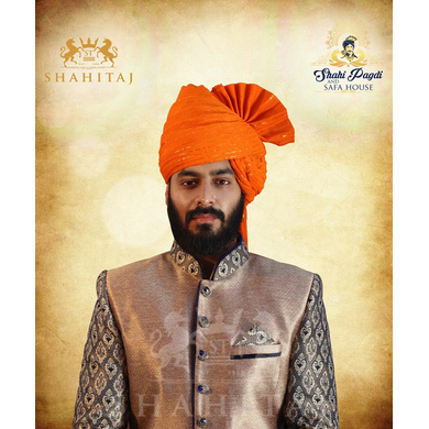 S H A H I T A J Traditional Rajasthani Wedding Barati Zari Straight Line Orange or Kesariya Cotton Jodhpuri & Rajputi Pagdi Safa or Turban for Kids and Adults (CT187)-ST267_23
