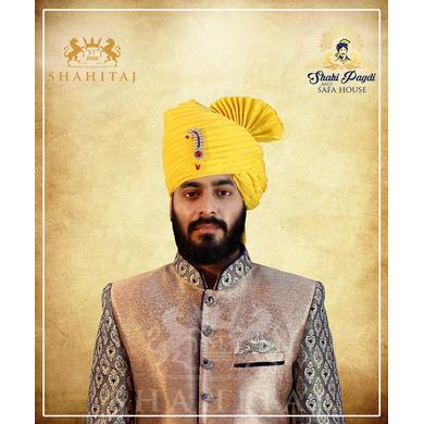 S H A H I T A J Traditional Rajasthani Wedding Barati Zari Staight Line Yellow Cotton Jodhpuri & Rajputi Pagdi Safa or Turban for Kids and Adults (CT188)-ST268_22andHalf
