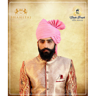 S H A H I T A J Traditional Rajasthani Wedding Barati Zari Staight Line Yellow Cotton Jodhpuri & Rajputi Pagdi Safa or Turban Multi-Colored for Kids and Adults (CT189)-ST269_20andHalf
