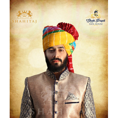 S H A H I T A J Traditional Rajasthani Wedding Barati Cotton Multi-Colored Lehariya Jodhpuri & Rajputi Pagdi Safa or Turban for Kids and Adults (CT190)-ST270_21andHalf