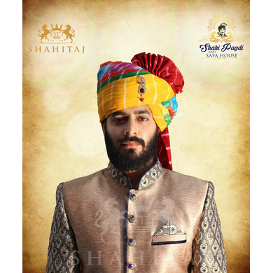 S H A H I T A J Traditional Rajasthani Wedding Barati Cotton Multi-Colored Lehariya Jodhpuri & Rajputi Pagdi Safa or Turban with Brooch for Kids and Adults (CT191)-ST271_21andHalf
