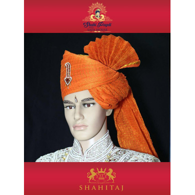 S H A H I T A J Traditional Rajasthani Wedding Barati Zari Cotton Kotadoriya Kesariya Jodhpuri & Rajputi Pagdi Safa or Turban with Brooch for Kids and Adults (CT192)-ST272_22