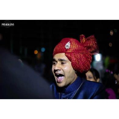 S H A H I T A J Traditional Rajasthani Wedding Barati Cotton Zari Kotadoriya Red Udaipuri Pagdi Safa or Turban with Brooch for Kids and Adults (CT193)-ST273_19andHalf