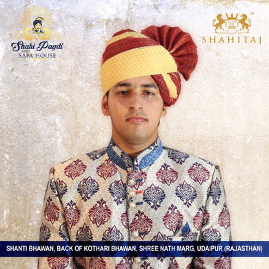 S H A H I T A J Traditional Rajasthani Wedding Barati Zari Cotton Kotadoriya Red & Cream Jodhpuri Pagdi Safa or Turban for Kids and Adults (CT194)-ST274_23andHalf