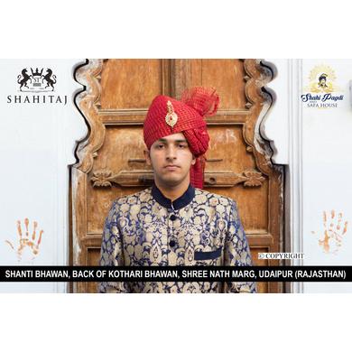 S H A H I T A J Traditional Rajasthani Wedding Barati Cotton Zari Kotadoriya Red Udaipuri Pagdi Safa or Turban with Brooch for Kids and Adults (CT193)-18-3