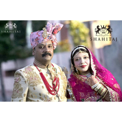 S H A H I T A J Traditional Rajasthani Wedding Barati Pink Floral Chanderi Silk Multi-Colored Udaipuri Pagdi Safa or Turban for Kids and Adults (CT199)-ST279_21andHalf