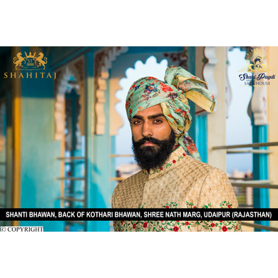 S H A H I T A J Traditional Rajasthani Wedding Barati Sea-Green Floral Chanderi Silk Multi-Colored Udaipuri Pagdi Safa or Turban for Kids and Adults (CT201)-ST281_18