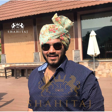 S H A H I T A J Traditional Rajasthani Wedding Barati Sea-Green Floral Chanderi Silk Multi-Colored Udaipuri Pagdi Safa or Turban for Kids and Adults (CT202)-ST282_20andHalf