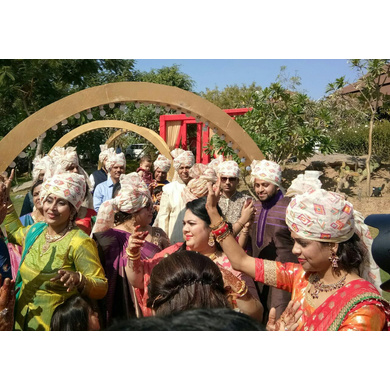S H A H I T A J Traditional Rajasthani Wedding Barati Aztec Print Chanderi Silk Multi-Colored Udaipuri Pagdi Safa or Turban for Kids and Adults (CT204)-ST284_22