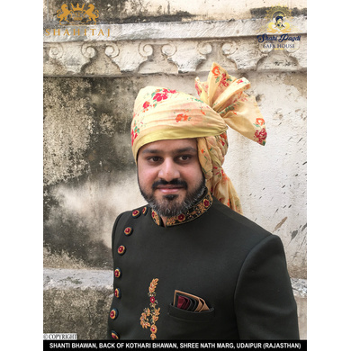 S H A H I T A J Traditional Rajasthani Wedding Barati Floral Chanderi Silk Multi-Colored Udaipuri Pagdi Safa or Turban for Kids and Adults (CT207)-ST287_18andHalf