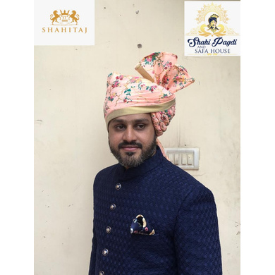 S H A H I T A J Traditional Rajasthani Wedding Barati Pink Floral Chanderi Silk Multi-Colored Udaipuri Pagdi Safa or Turban for Kids and Adults (CT208)-ST288_20andHalf