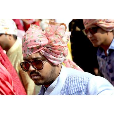 S H A H I T A J Traditional Rajasthani Wedding Barati Pink Sabhyasachi Floral Chanderi Silk Multi-Colored Jodhpuri Pagdi Safa or Turban for Kids and Adults (CT211)-ST291_18andHalf