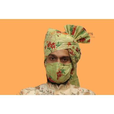 S H A H I T A J Traditional Rajasthani Wedding Barati Mint Green Floral Chanderi Silk Multi-Colored Udaipuri Pagdi Safa or Turban for Kids and Adults (CT213)-ST293_18