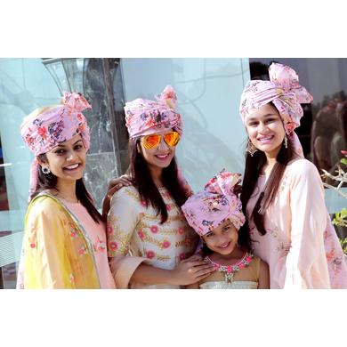 S H A H I T A J Traditional Rajasthani Wedding Barati Pink Floral Chanderi Silk Multi-Colored Udaipuri Pagdi Safa or Turban for Kids and Adults (CT210)-18-3