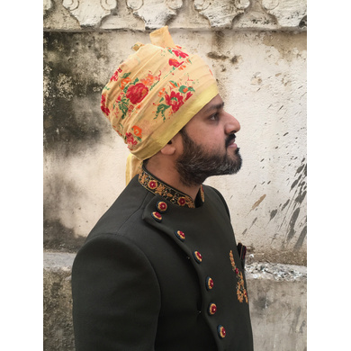 S H A H I T A J Traditional Rajasthani Wedding Barati Floral Chanderi Silk Multi-Colored Udaipuri Pagdi Safa or Turban for Kids and Adults (CT207)-18-3
