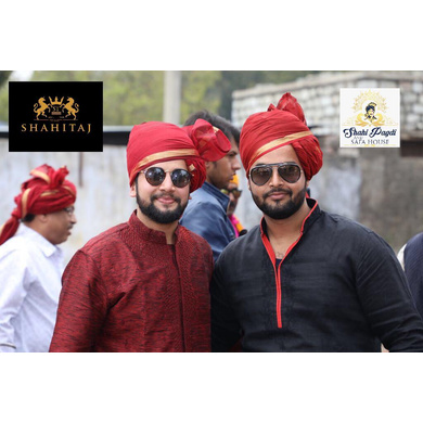 S H A H I T A J Traditional Rajasthani Wedding Barati Plain Chanderi Silk Maroon Udaipuri Pagdi Safa or Turban for Kids and Adults (CT214)-18-3