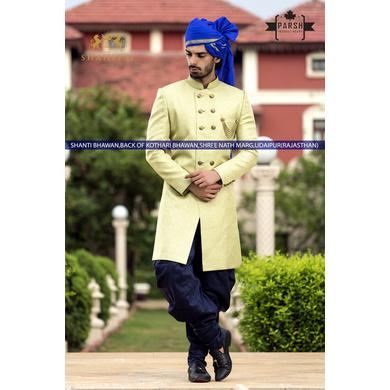 S H A H I T A J Traditional Rajasthani Wedding Barati Plain Blue Chanderi Silk Udaipuri Pagdi Safa or Turban for Kids and Adults (CT216)-ST296_21andHalf