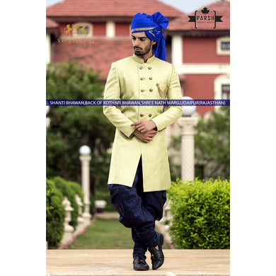 S H A H I T A J Traditional Rajasthani Wedding Barati Plain Blue Chanderi Silk Udaipuri Pagdi Safa or Turban for Kids and Adults (CT216)-ST296_22