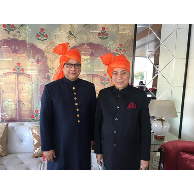 S H A H I T A J Traditional Rajasthani Wedding Barati Plain Chanderi Silk Orange or Kesariya Udaipuri Pagdi Safa or Turban for Kids and Adults (CT218)-ST298_21andHalf