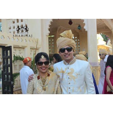 S H A H I T A J Traditional Rajasthani Wedding Barati Plain Chanderi Golden Silk Udaipuri Pagdi Safa or Turban for Kids and Adults (CT219)-ST299_19