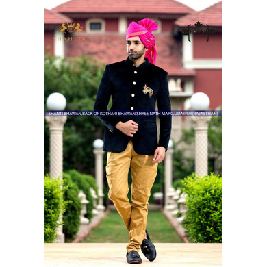 S H A H I T A J Traditional Rajasthani Wedding Barati Plain Chanderi Silk Rani or Magenta Udaipuri & Rajputi Pagdi Safa or Turban for Kids and Adults (CT220)-ST300_19andHalf