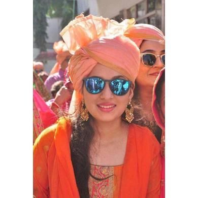 S H A H I T A J Traditional Rajasthani Wedding Barati Plain Chanderi Udaipuri Silk Peach Pagdi Safa or Turban for Kids and Adults (CT221)-ST301_19andHalf