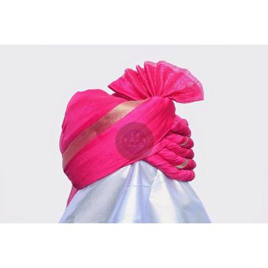 S H A H I T A J Traditional Rajasthani Wedding Barati Plain Chanderi Silk Rani or Magenta Udaipuri & Rajputi Pagdi Safa or Turban for Kids and Adults (CT220)-18-3