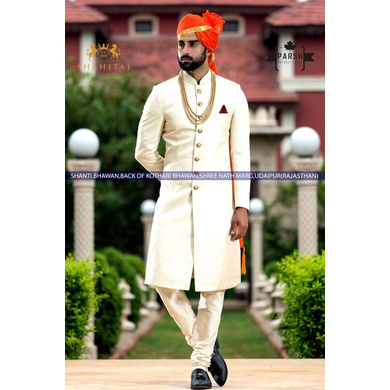 S H A H I T A J Traditional Rajasthani Wedding Barati Plain Chanderi Silk Orange or Kesariya Checkered Udaipuri Pagdi Safa or Turban for Kids and Adults (CT223)-ST303_23andHalf