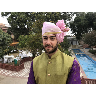 S H A H I T A J Traditional Rajasthani Wedding Barati Plain Chanderi Silk Baby Pink Udaipuri Pagdi Safa or Turban for Kids and Adults (CT224)-ST304_21andHalf