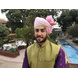S H A H I T A J Traditional Rajasthani Wedding Barati Plain Chanderi Silk Baby Pink Udaipuri Pagdi Safa or Turban for Kids and Adults (CT224)-ST304_22andHalf-sm