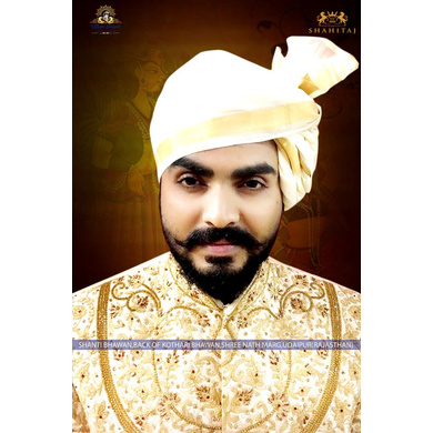 S H A H I T A J Traditional Rajasthani Wedding Barati Plain Chanderi Silk White Udaipuri Pagdi Safa or Turban for Kids and Adults (CT225)-ST305_23andHalf