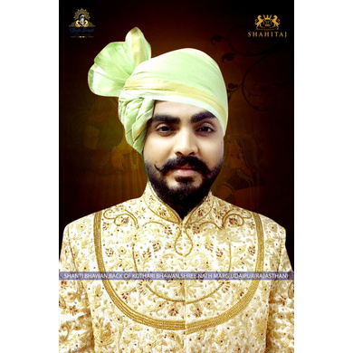 S H A H I T A J Traditional Rajasthani Wedding Barati Plain Chanderi Silk Pista Udaipuri Pagdi Safa or Turban for Kids and Adults (CT226)-ST306_23andHalf