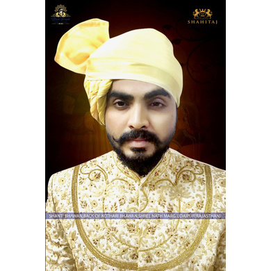 S H A H I T A J Traditional Rajasthani Wedding Barati Plain Chanderi Silk Aamras Udaipuri Pagdi Safa or Turban for Kids and Adults (CT227)-ST307_19andHalf