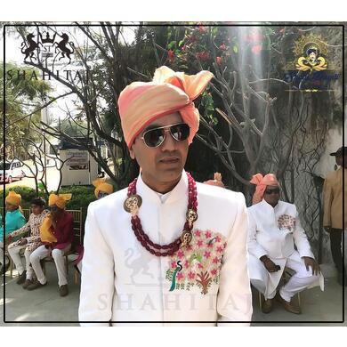 S H A H I T A J Traditional Rajasthani Wedding Barati Chanderi Peach Udaipuri Silk Designer Pagdi Safa or Turban for Kids and Adults (CT222)-ST302_18andHalf