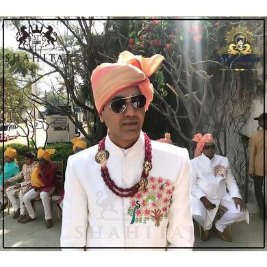 S H A H I T A J Traditional Rajasthani Wedding Barati Chanderi Peach Udaipuri Silk Designer Pagdi Safa or Turban for Kids and Adults (CT222)-ST302_21andHalf