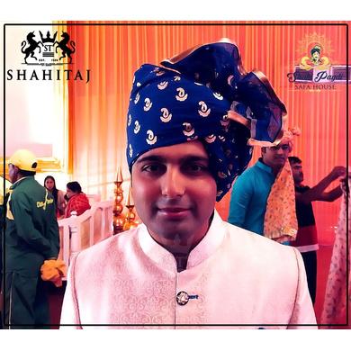 S H A H I T A J Traditional Rajasthani Wedding Barati Chanderi Silk Printed Blue Udaipuri Pagdi Safa or Turban for Kids and Adults (CT231)-ST311_18andHalf