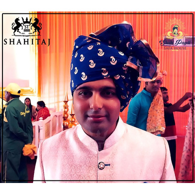 S H A H I T A J Traditional Rajasthani Wedding Barati Chanderi Silk Printed Blue Udaipuri Pagdi Safa or Turban for Kids and Adults (CT231)-ST311_19andHalf