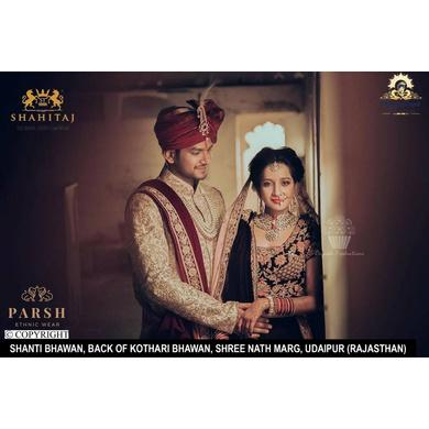 S H A H I T A J Traditional Rajasthani Wedding Maroon Silk Udaipuri Pagdi Safa or Turban for Groom or Dulha (CT236)-ST316_23andHalf