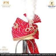 S H A H I T A J Traditional Rajasthani Wedding Georgette Red Bandhej Jodhpuri & Rajputi Pagdi Safa or Turban for Groom or Dulha (CT237)