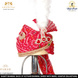 S H A H I T A J Traditional Rajasthani Wedding Georgette Red Bandhej Jodhpuri & Rajputi Pagdi Safa or Turban for Groom or Dulha (CT237)-ST317_23andHalf-sm