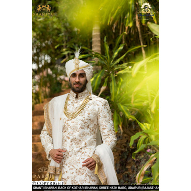 S H A H I T A J Traditional Rajasthani Wedding White Silk Udaipuri Pagdi Safa or Turban for Groom or Dulha (CT238)-ST318_21andHalf