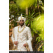 S H A H I T A J Traditional Rajasthani Wedding White Silk Udaipuri Pagdi Safa or Turban for Groom or Dulha (CT238)-ST318_23andHalf-sm