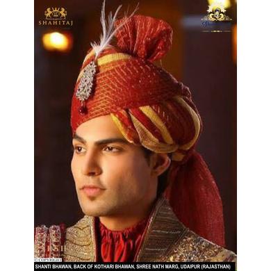 S H A H I T A J Traditional Rajasthani Wedding Multi-Colored Cotton Kotadoriya Jodhpuri & Rajputi Pagdi Safa or Turban for Groom or Dulha (CT235)-21-3