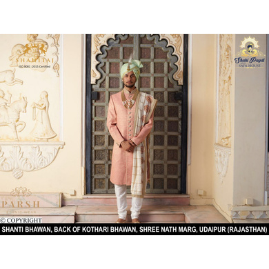 S H A H I T A J Traditional Rajasthani Wedding Pista Silk Udaipuri Pagdi Safa or Turban for Groom or Dulha (CT241)-ST321_22