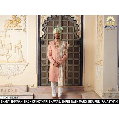 S H A H I T A J Traditional Rajasthani Wedding Pista Silk Udaipuri Pagdi Safa or Turban for Groom or Dulha (CT241)-ST321_22andHalf