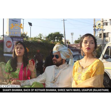 S H A H I T A J Traditional Rajasthani Wedding Blue Golden Silk Udaipuri Pagdi Safa or Turban for Groom or Dulha (CT243)-ST323_23