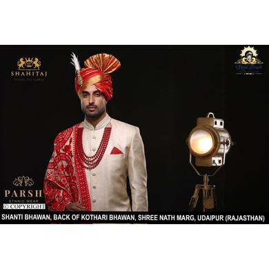 S H A H I T A J Traditional Rajasthani Wedding Red Silk Udaipuri Pagdi Safa or Turban for Groom or Dulha (CT244)-ST324_22