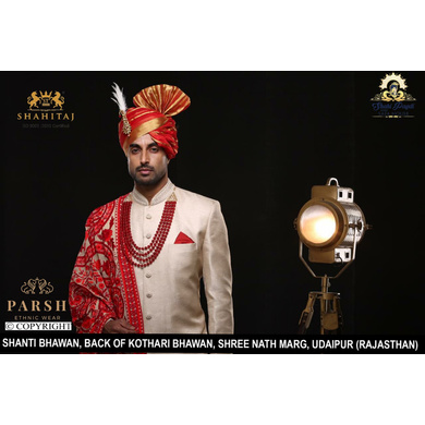 S H A H I T A J Traditional Rajasthani Wedding Red Silk Udaipuri Pagdi Safa or Turban for Groom or Dulha (CT244)-ST324_22andHalf