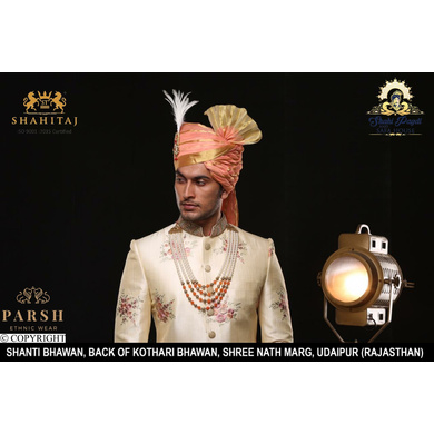 S H A H I T A J Traditional Rajasthani Wedding Peach Silk Udaipuri Pagdi Safa or Turban for Groom or Dulha (CT245)-ST325_21andHalf