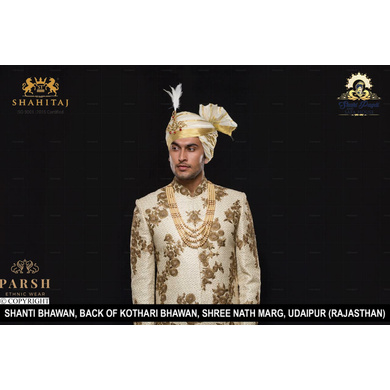 S H A H I T A J Traditional Rajasthani Wedding Udaipuri Silk Pagdi Safa or Turban for Groom or Dulha (CT246)-ST326_22andHalf